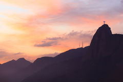 Christ the Redeemer in sunset, Rio de Janeiro Royalty Free Stock Photography