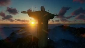 Christ the Redeemer with tourists above clouds at sunset, Rio de Janeiro, panning_1 vector illustration