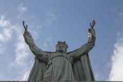 Christ the redeemer in the town of Rio Caribe. Venezuela stock photo