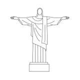 Christ the Redeemer. Vector Line Icon of Christ the Redeemer, Rio De Janeiro, Brazil stock illustration