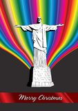 Christ the Redeemer - xmas card. Christ the Redeemer - Merry Christmas Royalty Free Stock Photos