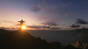 Christ the Redemee rat Sunset, Rio de Janeiro, Brazil, 3D render Royalty Free Stock Images