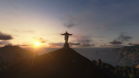 Christ the Redemeer at Sunset, Rio de Janeiro, camera panning, stock footage stock video