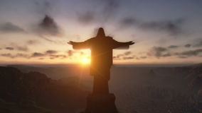Christ the Redemeer at Sunset, Rio de Janeiro, close up, stock footage. Video