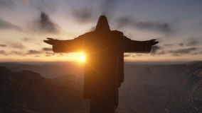 Christ the Redemeer at Sunset, Rio de Janeiro, closeup, stock footage Royalty Free Stock Images