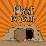 Christ is risen. The empty tomb. vector illustration