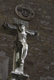 Christ in the ruined portuguese Carmo Convent Royalty Free Stock Photo
