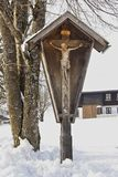 Winter, Christ`s Cross in the Snow, Bavaria, Germany royalty free stock image
