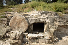 Christ's tomb. A tomb near nazareth, Israel dates to the first century. Similar to Christ's tomb with the stone rolled over the entry Stock Image