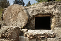 Christ's tomb. A tomb near nazareth, Israel dates to the first century. Similar to Christ's tomb with the stone rolled over the entry. XLarge size royalty free stock image