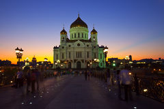 Christ the Savior Cathedral   in dusk Royalty Free Stock Image