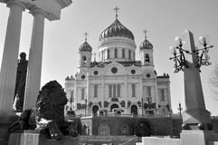 Christ the Savior Cathedral and monument to Alexander II in Moscow. Russia Royalty Free Stock Photo