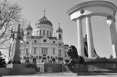 Christ the Savior Cathedral and monument to Alexander II in Moscow. Russia Royalty Free Stock Photos