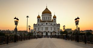 Christ the Savior Cathedral at sunset. Russia. Moscow. Royalty Free Stock Images