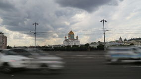Christ the Savior Cathedral and Daily traffic, Moscow, Russia.  stock video footage