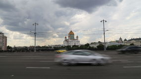 Christ the Savior Cathedral and Daily traffic, Moscow, Russia stock video footage