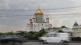 Christ the Savior Cathedral and Daily traffic, Moscow, Russia stock footage