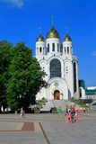Christ the Savior Cathedral in Victory Square in Kaliningrad. KALININGRAD, RUSSIA — JULY 9, 2014: Christ the Savior Cathedral in Victory Square in Kaliningrad Royalty Free Stock Image