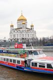 Christ the Savior Church in Moscow, Russia. Cruise boat. Stock Images