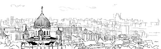 Christ the saviour cathedral illustration. Christ the saviour cathedral in the city illustration royalty free illustration