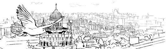 Christ the saviour cathedral illustration. Christ the saviour cathedral in the city illustration stock illustration