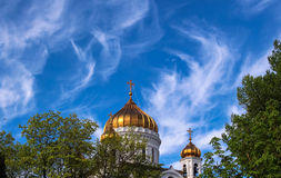 Christ-the-Savor orthodox church in Moscow under blue sky Royalty Free Stock Images