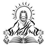 Christ with a shining sun over his head, an open book of life and drops from his wounds.  royalty free illustration