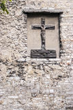 Christ statue on an ancient wall... Royalty Free Stock Images