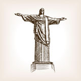 Christ statue hand drawn sketch style vector Royalty Free Stock Image