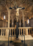 Christ statue inside the Hieronymites Monastery. The Hieronymites Monastery (Mosteiro dos Jeronimos), located in the Belem district of Lisbon, Portugal. Typical Royalty Free Stock Images