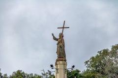 Christ Statue on top of Cerro San Bernardo Hill - Salta, Argentina stock images