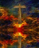 Christ. Surreal digital art. Christian cross above water surface. Vivid subset. Image composed entirely of text, words Stock Photos