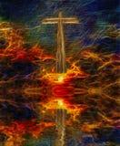 Christ. Surreal digital art. Christian cross above water surface. Vivid subset. Latin text Stock Photos
