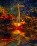 Christ. Surreal digital art. Christian cross above water surface. Vivid subset. Latin text Royalty Free Stock Photos