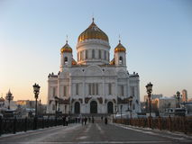 Christ temple in Moscow 2. View Christ temple in Moscow from the bridge Stock Photo