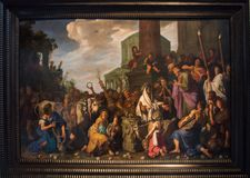 Christ and the Woman Canaan from 1617 by Pieter Lastman stock photos