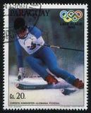 Christa Kinshofer at Winter Olympics at Lake Placid. RUSSIA KALININGRAD, 19 APRIL 2017: stamp printed by Paraguay, shows Christa Kinshofer at Winter Olympics at Stock Photo