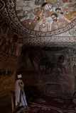 Christainpriester in de kerk van Abuna Yemata in Ethiopië Royalty-vrije Stock Foto's
