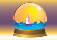 Christal ball. Sail in christal ball, vector Royalty Free Stock Image