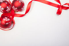 Christamas Balls And A Ribbon Stock Photography