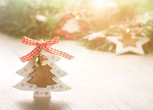 Christamas decoration on table. Close up of Xmas tree decoration on wooden table. Christmas holiday and New Year concept royalty free stock images