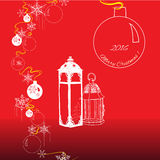 Christamas elements of balls, lanterns, snowflakes. On red background. Vector illustration Royalty Free Illustration
