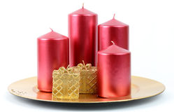 Christamas plate with candles Stock Photo