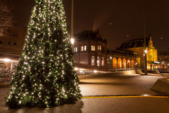 Christamas tree in city near the railway station Stock Images