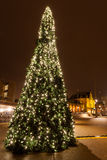 Christamas tree in city near the railway station Royalty Free Stock Photo