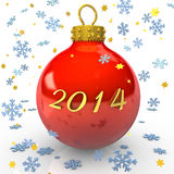Christams 2014. Text 2014 with christmas bauble, snowflakes and stars on the white background Stock Photography