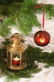 Christams ball and lamp. Christams ball photo for postcards Royalty Free Stock Photography