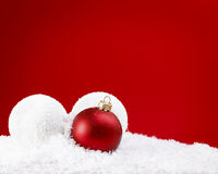 Christams Balls with snow Royalty Free Stock Image