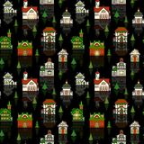 Christams House Pattern For Gift Paper Your Design. Vector Royalty Free Illustration