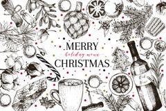 Christams-Menü Vektor skizzierte Weinleseartfahne Feiertag reataurnat Förderung Weihnachtsdekoration, Lebensmittel baumwolle lizenzfreie abbildung